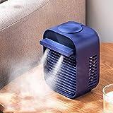 Dantazz - Aire acondicionado USB, minienfriador de aire y humidificación, ventilador de refrigeración para espacio de trabajo y hogar (azul, 122 mm x 99 mm x 169 mm)