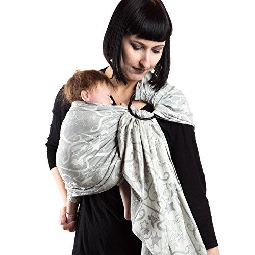 SCHMUSEWOLKE Ring Sling Babytragetuch Gerafft Jacquard Magic Grey BIO-Baumwolle 70 x 200 cm Babysize-Toddlersize Neugeborene und Kleinkinder 0-60 Monate 3-16 kg Hüfttrage