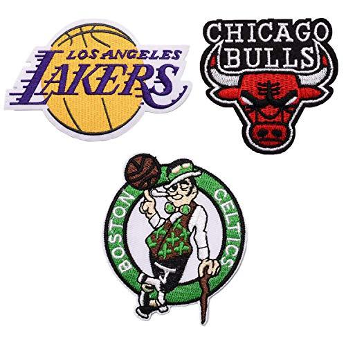 Lanxin 3 parches con el logotipo del equipo de la NBA, 'Lakers Bulls Geltics' para coser o planchar en el logotipo de baloncesto con apliques deportivos, parches de decoración