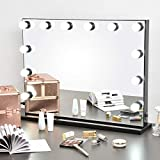 Byootique Large 33'x24' Vanity Mirror with Lights Hollywood Makeup Mirror Lighted 12 Dimmable LED Bulbs Studio Tabletop Wall-Mounted Black