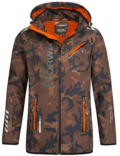 Geographical Norway Herren Softshell Outdoor Jacke Rainman Turbo-Dry Kapuze (XL, Khaki/Orange)