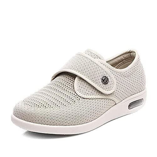 WTFYSYN Zapatilla DiabéTica Sin Cordones para Mujer,Zapatos Madre Tallas Grandes, Zapatos Abuela Velcro-Beige_35.5,Zapatillas DiabéTicas Zapatos Extra Anchos