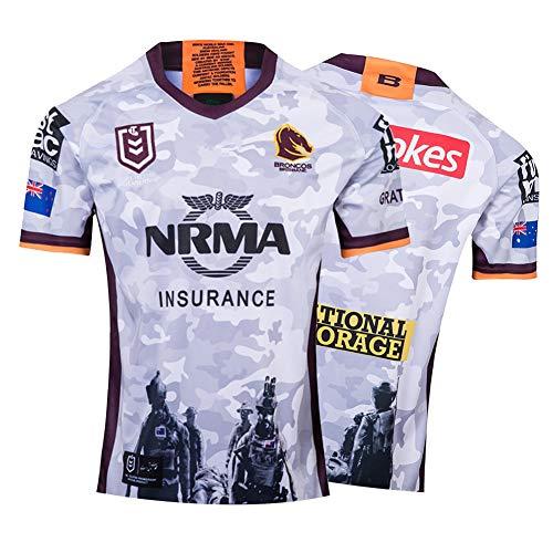 Herren Rugby Trikot, 2019 Mustang Regiment Gedenkausgabe Rugby Polo Shirt Training T-Shirt, Unterstützer Fußball Sport Top, Bestes Geburtstagsgeschenk-M