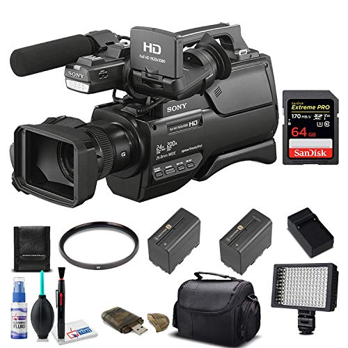 Sony HXR-MC2500E Shoulder Mount AVCHD Camcorder (PAL) With Sandisk 64GB Extreme Pro Card, Extra Battery and Charger, UV Filter, LED Light, Case and More. - Starter Bundle