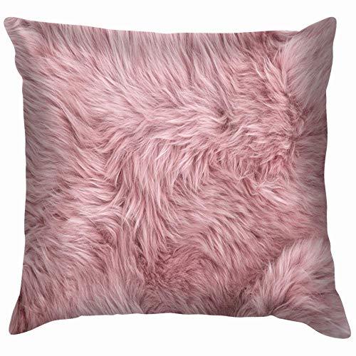 goodsale2019 Pillow Case Zippered Pink Sheep Fur Natural Sheepskin Rug Backdrop Pillow Case Throw Pillow Cover Square Cushion Cover 18X18 Cm Autumn Fall