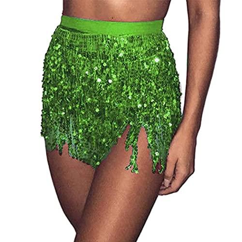 Belasa Falda de lentejuelas con borla para danza del vientre, bufanda de cadera, disfraz de club de playa, faldas con flecos para mujeres y niñas, verde, 42W regular