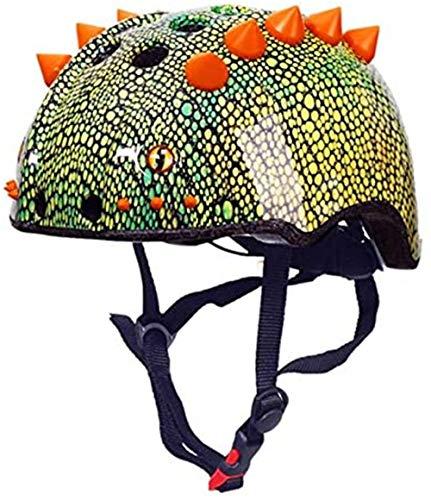 LLDKA Dinosaurio Casco de Auriculares Joven Cómics monopatín Casco de la Bici Edad 3-13 años Niños Niñas, Casco Ajustable Bicicleta Bicicleta Vespa línea patinando