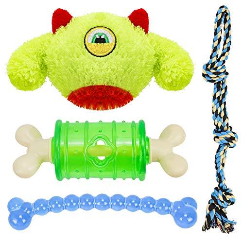 Hundespielzeug Set,4 Pcs Hund Kauspielzeug Welpen oder Kleinere Hunde,Spielsachen für Zahnreinigung Geeignet Interaktives Welpenspielzeug Seil (4 Pcs)
