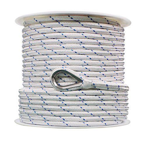Extreme Max 3006.2514 BoatTector Double Braid Nylon Anchor Line with Thimble - 1/2' x 150', White w/Blue Tracer