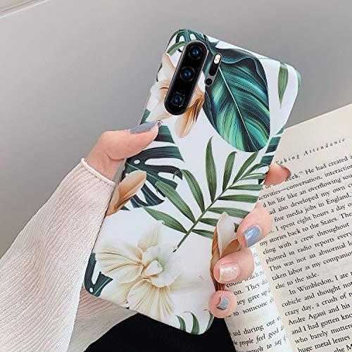 Kompatibel mit Huawei P30 Pro Hülle,Handyhülle Huawei P30 Pro Case Blumen Blätter Muster Ultradünn TPU Silikon Hülle Schutzhülle Weiche Crystal Clear Silikon Bumper Rückschale Case Cover, Weiße Blume