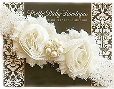 Baby Christening Baptism Headband- Handcrafted in The USA - Cream/Ivory On Lace (Newborn 0-3months)
