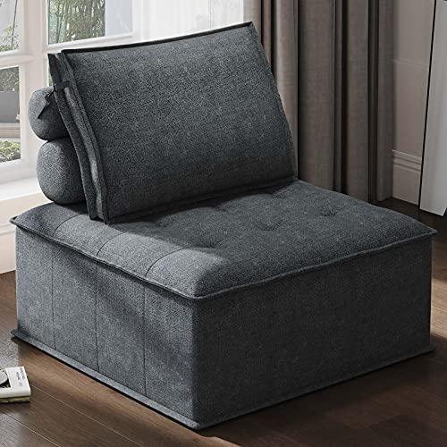 Belffin Modular Single Sofa Chair Modern Floor Sofa Couch Accent Sofa Chair Soft Fabric Bluish Grey