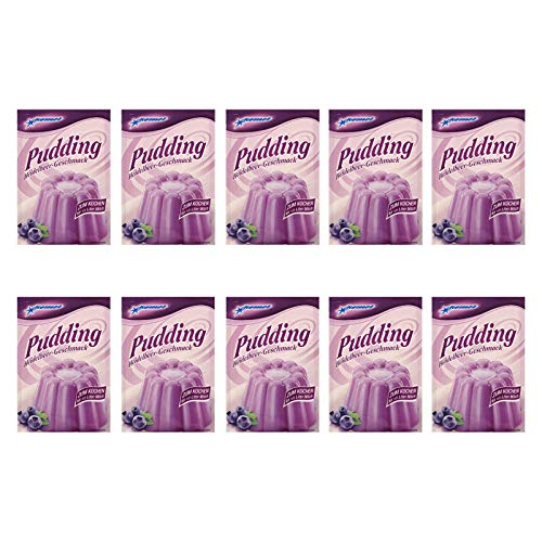 10er Pack Komet Pudding Heidelbeer-Geschmack (10 x 40 g) zum Kochen Puddingpulver Dessert Puddingdessert