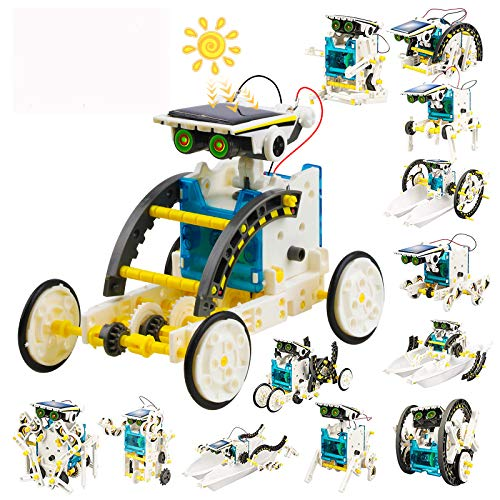 Bldaxn Solar Robot Kit, 13 in 1 Educatioanl STEM Learning Building Kids Toys, Science Experiment Kit for Kids Aged 8-10 and Older, Science Toy Solar Powered Building Robotic DIY Assembly Set