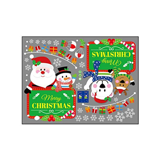Cartoon Snowman Santa Window Sticker Home Decor Sticker, Decoration for Christmas Day (Multicolor)