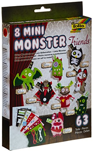 Folia 6 1223 051 Mini Monster Friends, Set pour 8 Monstres, Assortis, unique