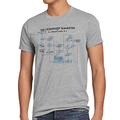 CottonCloud Friendship Algorithm T-Shirt da Uomo Sheldon, Dimensione:M, Colore:Grigio Melange
