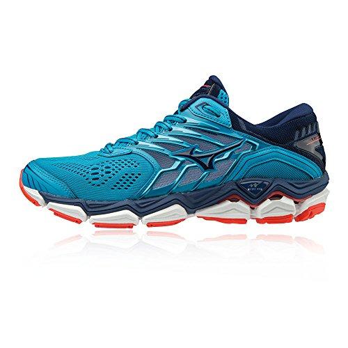 Mizuno Damen Wave Horizon 2 Sneakers, Mehrfarbig (Hocean/Eblue/Fcoral 001), 38 EU