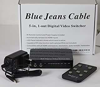 HDMI Switch, 5 in, 1 Out, with Remote Control, Built-in Equalizer