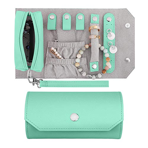 Emibele Small Travel Jewelry Roll Bag Organizer, Smart Size PU Leather Jewelry Roll Bag with Portable Pouch for Ring Earring Necklace Bracelet, Daily Jewelry Carrying - Mint Green