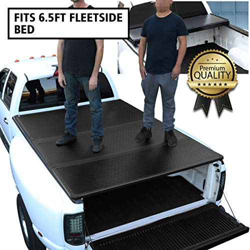DNA Motoring TTC-HARD-014 Truck Bed Top Hard Solid Tri-Fold Tonneau Cover Replacement For 15-18 F150 6.5Ft Fleetside Bed