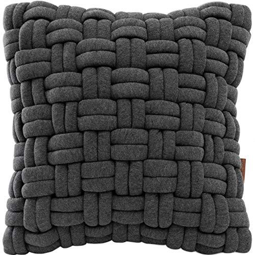 Miqio Cuscino decorativo con etichetta in vera pelle (cuscino per divano 'Tromsö' con cuscino interno), grigio scuro, 40 x 40 cm