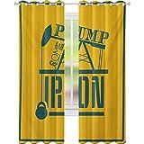 Cortinas opacas impresas, bomba de hierro en marco vintage, iconos de levantamiento de peso, cortinas opacas W52 x L63 para habitación de los niños, caléndula azul petróleo