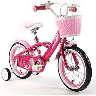 """Royalbaby Mermaid Kids Children Girls Bike Bicycle stabilisers, Pink, 14"""":Whiteox"""