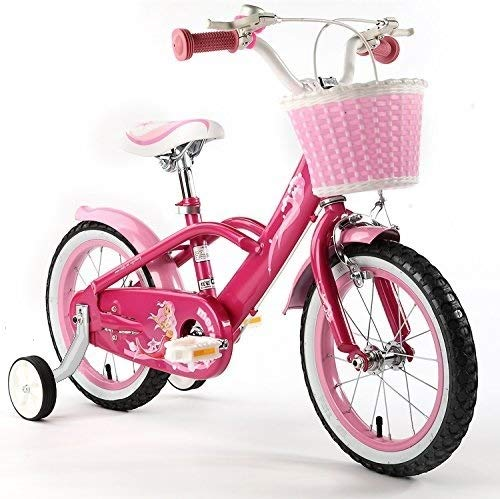Royalbaby Girls' Mermaid Kids Children Bike Bicycle stabilisers, Pink, 16'