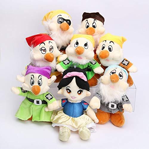 Peluches 8 Unids / Lote Lindo 28 Cm Princesa De La Nieve Y Los Siete Enanitos Muñeco De Peluche Modelo De Juguete Suave Muñeca De Algodón Regalo para Niños
