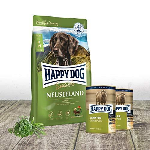 Happy Dog Neuseeland Premium Hundefutter 12,5 kg | Zugabe von 2 x 400 g Dosen Lamm pur | Hypoallergene Formel