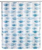 WENKO Anti-Schimmel Duschvorhang Aquamarin, Textil-Vorhang mit Antischimmel Effekt fürs Badezimmer, waschbar, wasserabweisend, mit Ringen zur Befestigung an der Duschstange, 180 x 200 cm