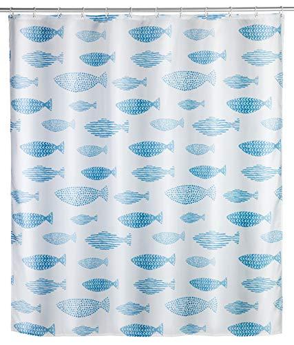WENKO Anti-Schimmel Duschvorhang Aquamarin - Anti-Bakteriell, Textil, waschbar, wasserabweisend, schimmelresistent, mit 12 Duschvorhangringen, Polyester, 180 x 200 cm, Mehrfarbig