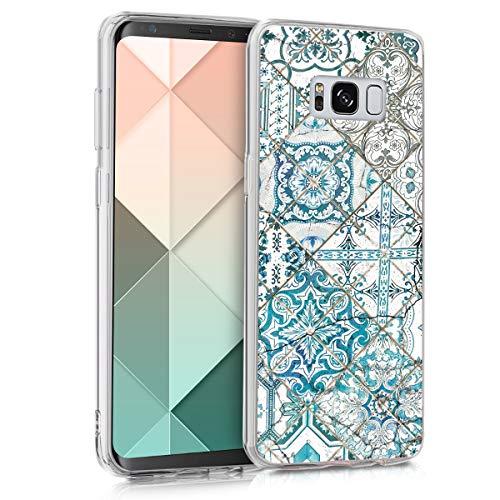 kwmobile Hülle kompatibel mit Samsung Galaxy S8 - Handyhülle - Handy Case Marokkanische Fliesen einfarbig Blau Grau Weiß