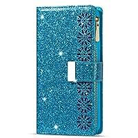 For IPhone12ケース手帳型、女性のための豪華な光沢のあるプレミアム電話ケース、多機能でポータブルなレザーフォンカバーケース 青い -Phone12 Pro