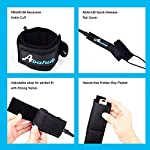 """Abahub Premium Surfboard Leash, Straight Surf Board Leg Rope, SUP Legrope Strap for Shortboard, Longboard, Paddleboard… 10 Full Range: Size options: 6ft, 7ft, 8ft, 9ft, and 10ft; 10 Color options: Black, Blue, Green, Clear Red, Clear Blue, Orange, Purple. It's recommended to choose a leash equal in length to or slightly longer than the board it will be used on. Strong & Safe: This leash is made of super strong 7 mm thick polyurethane cord, with molded-in double Stainless Steel swivels. The double wrap-around velcro cuff is to add extra strength and security to your connection. Comfortable & Easy: High-density neoprene padded 2"""" Ankle Cuff has an easy pull tab with a hidden key pocket."""