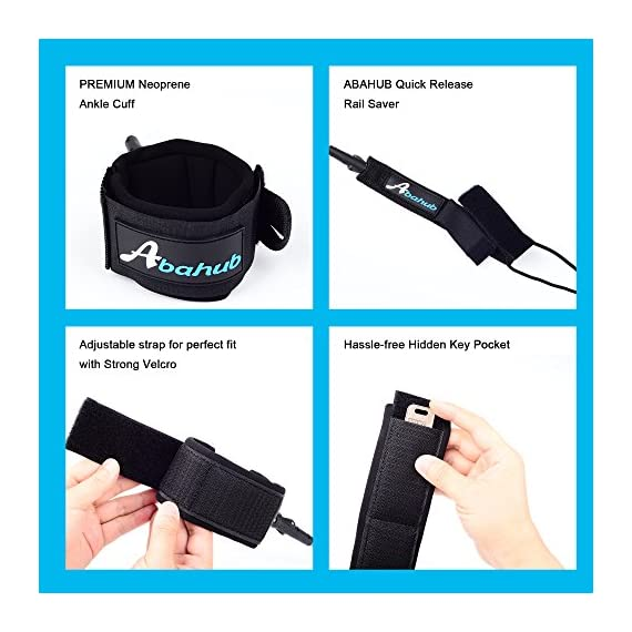"""Abahub Premium Surfboard Leash, Straight Surf Board Leg Rope, SUP Legrope Strap for Shortboard, Longboard, Paddleboard… 3 Full Range: Size options: 6ft, 7ft, 8ft, 9ft, and 10ft; 10 Color options: Black, Blue, Green, Clear Red, Clear Blue, Orange, Purple. It's recommended to choose a leash equal in length to or slightly longer than the board it will be used on. Strong & Safe: This leash is made of super strong 7 mm thick polyurethane cord, with molded-in double Stainless Steel swivels. The double wrap-around velcro cuff is to add extra strength and security to your connection. Comfortable & Easy: High-density neoprene padded 2"""" Ankle Cuff has an easy pull tab with a hidden key pocket."""