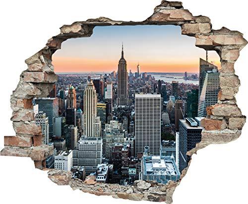 Queence Adhesivo de pared con efecto 3D, adhesivo para ventana, imagen de pared, adhesivo de pared, tamaño: 60 x 50 cm, color: Nueva York