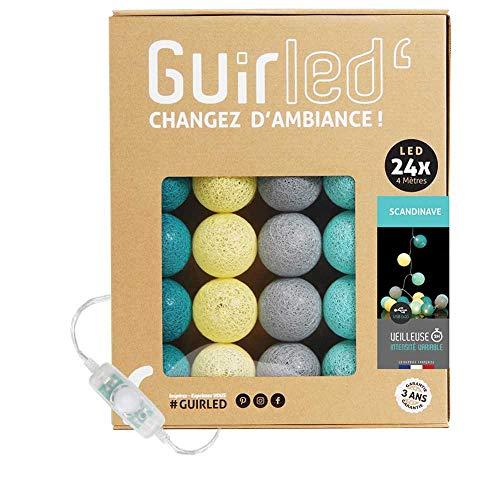 Guirnalda luminosa bolas de algodón LED USB- Luz de noche para bebé 2h - Adaptador de corriente dual USB 2A incluido - 3 intensidades - 24 bolas 4m - Escandinavo
