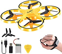Mini Drone for Kid,2.4G Gravity Sensor RC Nano Quadcopter with Infrared Obstacle Avoidance Hand Control,Remote Control Aircraft UFO Helicopter/Headless Mode/Altitude Hold/3D Flip/LED Light (Yellow)
