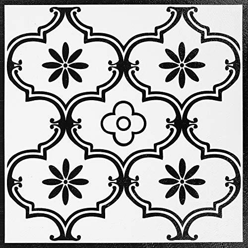 Decomeister Selbstklebende Bodenfliesen Kunststoff Fliesen Vinyl-Fliesen Bodenbelag 5m² – 55 Stück á 30,5 x 30,5 cm Klassisches Classic Ornament