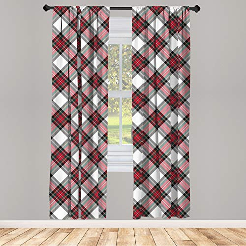 """Ambesonne Tartan Curtains, Traditional Plaid with Diagonal Lines and Rhombuses Scottish Culture Inspirations, Window Treatments 2 Panel Set for Living Room Bedroom Decor, 56"""" x 63"""", Coral Black"""