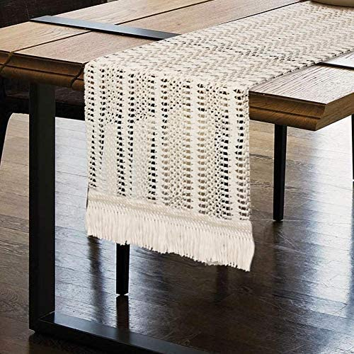 OurWarm Macrame Table Runner Cotton Crochet Lace Boho Table Runner Woven Table Runner with Tassels product image