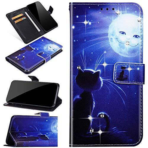 Compatible con Samsung Galaxy S20 Ultra Funda Billetera con Dibujo Brillantes Strass Carcasa Libro con Tapa Flip Case Protector Cuero PU Magnético Función de Soporte Caja Cover,Gato Luna