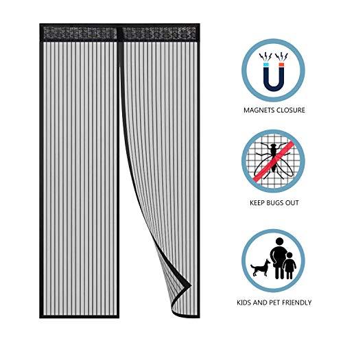 Hiveseen Cortina Mosquitera Magnética para Puertas, 120x220cm, Anti Insectos Moscas y Mosquitos, con 18 Imanes Cierre Automático, para Puertas Correderas/Balcones/Terraza