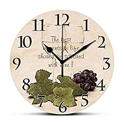 Dadidyc The Best Moment in Life-Wine Glasses with Grapes Round Wall Clock Silent Non-Ticking Wall Clock Desk Clock Unique Decorative for Home Living Room Bedroom School Clock 10in