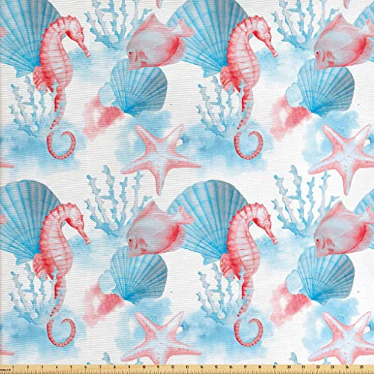 Lunarable Nautical Fabric by The Yard, Shells Sea Horse Corals Fish Sandy Beach Exotic Stylized Watercolor Effect, Decorative Fabric for Upholstery and Home Accents, 1 Yard, Coral Blue White