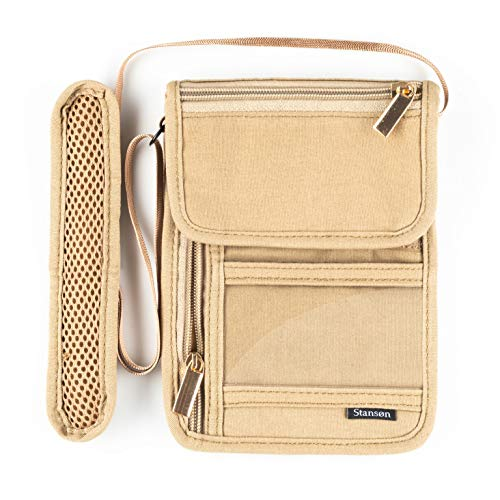 Stansøn® Brustbeutel, Brusttasche aus Canvas | Reiseorganizer mit RFID Schutz Blocker für Damen & Herren | Reisedokumententasche, Reisegeldbeutel, Umhängegeldbeutel für Handy & Reisepass (Beige)