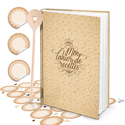 XXL HARDCOVER Frans kookboek om zelf te schrijven, MON CAHIER DE RECETTES + KOCHLFFEL + blanco beige sticker 164 pagina's receptenboek notitieboek - geschenk keuken koken