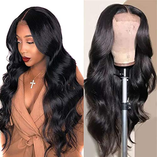 Lace Front Wigs Human Hair 22 inch Brazilian Hair Body Wave 4x4 Lace Closure Wigs Brazilian Body Wave Lace Front Wigs with Baby Hair Natural Color (4x4 lace closure wig body wave,22 inch)